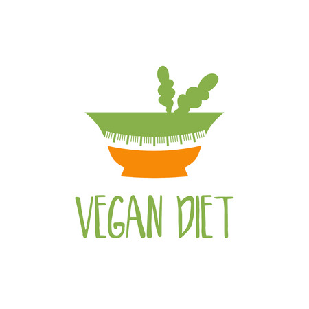 Template logo design with bowl and measuring tape for the diet theme. Vector illustration