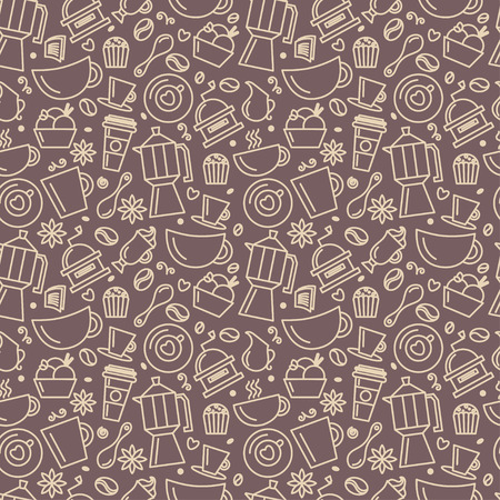 coffee beans: Seamless pattern for coffee theme. Line art draw icons.Vector illustration