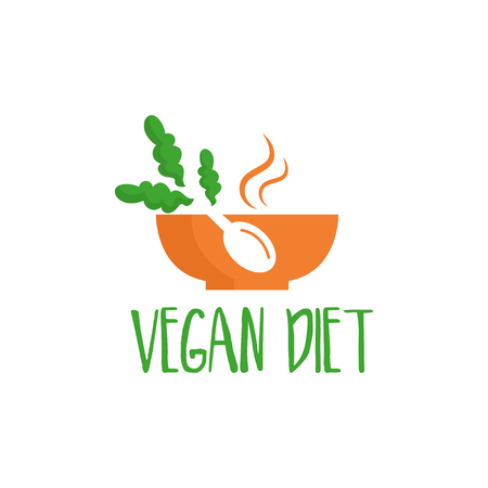 Template logo design with bowl for the diet theme. Vector illustration