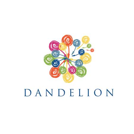 Illustration of concept logo of dandelion. Vector Ilustração
