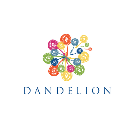 Illustration of concept logo of dandelion. Vector Illustration