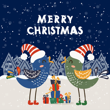 Cartoon illustration for holiday theme with two birds on winter background. Greeting card for Merry Christmas and Happy New Year. Vector illustration