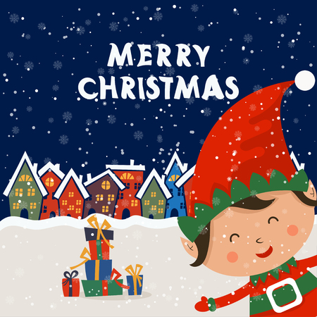 Cartoon illustration for holiday theme with elf on winter background. Greeting card for Merry Christmas and Happy New Year. Vector illustration Stock Vector - 110117446