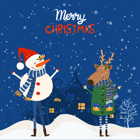 Cartoon illustration for holiday theme with deer and snowman on winter background. Greeting card for Merry Christmas and Happy New Year. Vector illustration