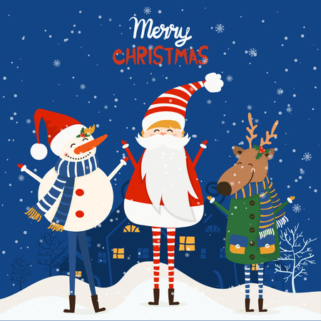 Cartoon illustration for holiday theme with deer,santa claus and snowman on winter background. Greeting card for Merry Christmas and Happy New Year. Vector illustration