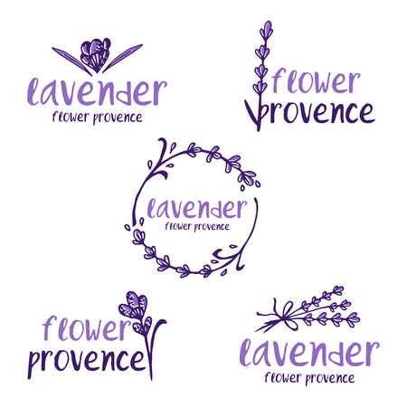 Set of template logo design of abstract icon lavender. Vector illustration Banque d'images - 111610507