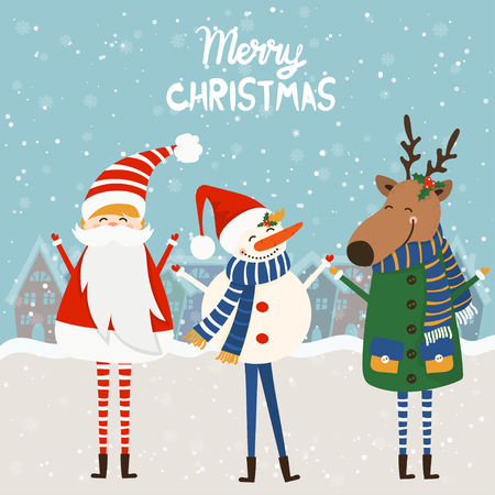 Cartoon illustration for holiday theme with reindeer,santa claus and snowman on winter background. Greeting card for Merry Christmas and Happy New Year. Vector illustration