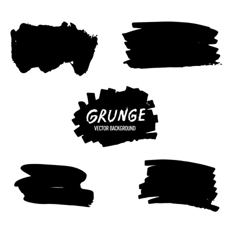 Abstract hand drawn painted black paint, ink brush stroke,background texture. Grunge artistic design element.Vector illustration