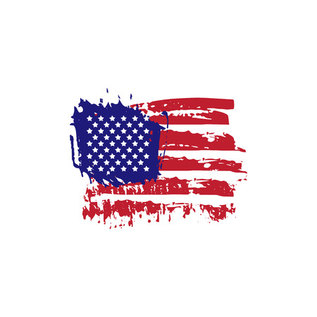 Abstract hand drawn grunge texture USA flag. Vector illustration
