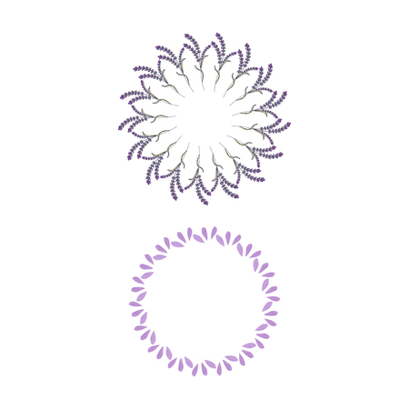 Set of wreath lavender template design. Vector illustration Banque d'images - 111610585