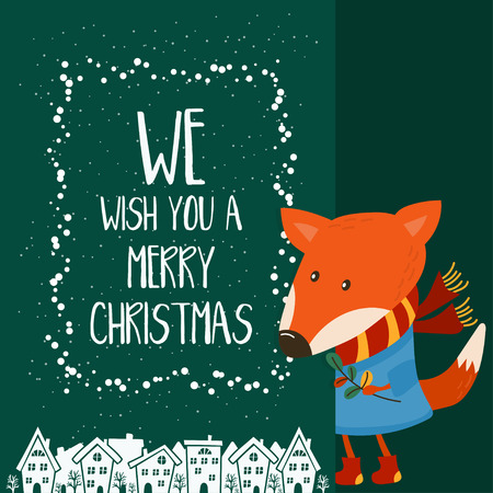 Cartoon illustration for holiday theme with fox on winter background. Greeting card for Merry Christmas and Happy New Year. Vector illustration