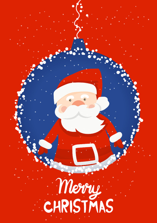 Cartoon illustration for holiday theme with Santa Claus on winter background. Greeting card for Merry Christmas and Happy New Year. Vector illustration Stock Vector - 110255420
