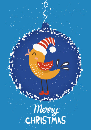 Cartoon illustration for holiday theme with  bird on winter background. Greeting card for Merry Christmas and Happy New Year. Vector illustration