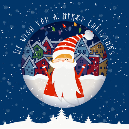 Cartoon illustration for holiday theme with Santa Claus on winter background. Greeting card for Merry Christmas and Happy New Year. Vector illustration