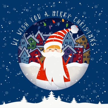 Karikaturillustration für Feiertagsthema mit Weihnachtsmann auf Winterhintergrund. Grußkarte für frohe Weihnachten und ein glückliches neues Jahr. Vektor-Illustration
