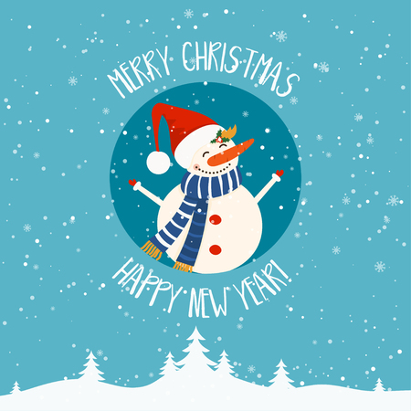 Cartoon illustration for holiday theme with snowman on winter background. Greeting card for Merry Christmas and Happy New Year. Vector illustration