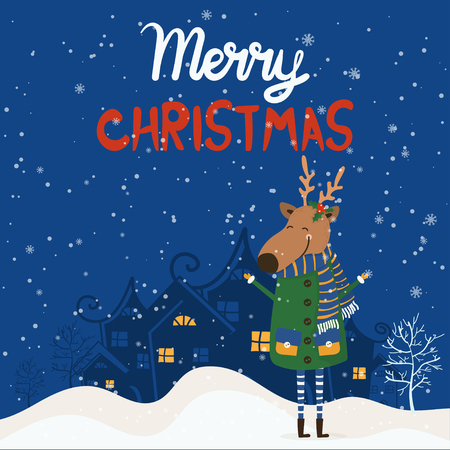Cartoon illustration for holiday theme with deer on winter background. Greeting card for Merry Christmas and Happy New Year. Vector illustration