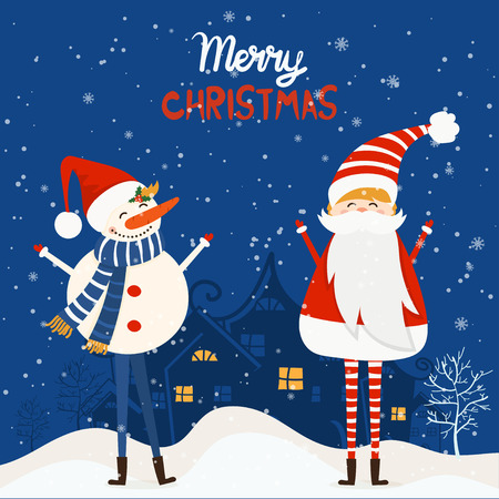 Cartoon illustration for holiday theme with santa claus and snowman on winter background. Greeting card for Merry Christmas and Happy New Year. Vector illustration