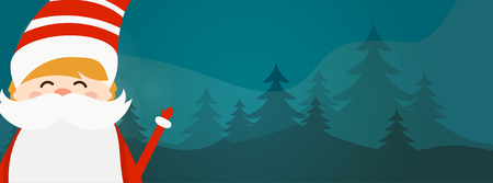 Cartoon illustration banner for holiday theme with Santa Claus on winter background. Greeting card for Merry Christmas and Happy New Year. Vector illustration