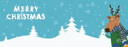 Cartoon illustration banner for holiday theme with deer on winter background. Greeting card for Merry Christmas and Happy New Year. Vector illustration