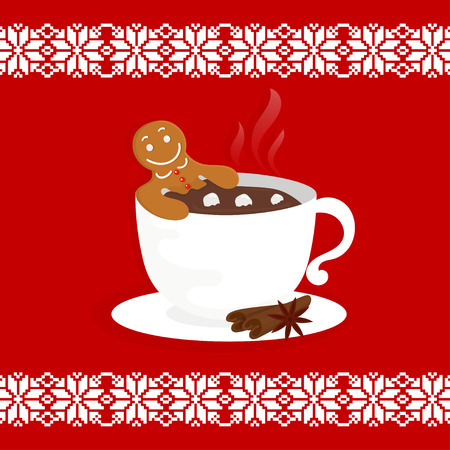 Funny cartoon illustration with gingerbread man in cup of hot chocolate. For holiday theme  on winter background. Greeting card for Merry Christmas and Happy New Year. Vector illustration