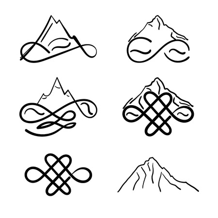 Set of icons mountains with sign infinity. Vector illustration Ilustração