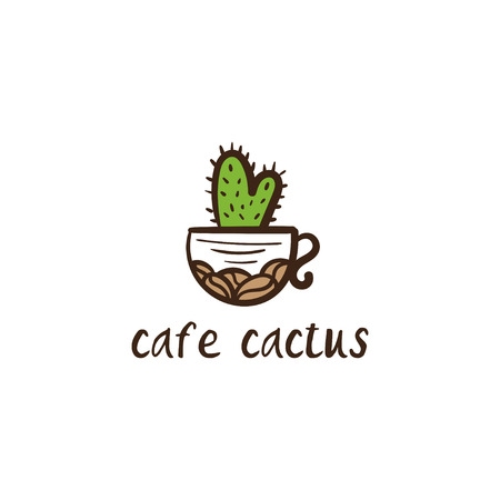 Conceptual icon logo with cup and cactus for the cafe. Vector illustration Ilustração