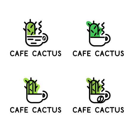 Set of conceptual icon logos with cup and cactus for the cafe. Vector illustration