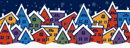 Cartoon illustration banner for holiday theme with sweet houses on winter background. Greeting card for Merry Christmas and Happy New Year. Vector illustration