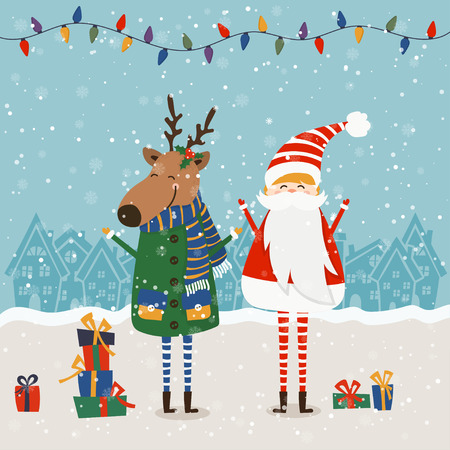 Cartoon illustration for holiday theme with santa claus and deer on winter background. Greeting card for Merry Christmas and Happy New Year. Vector illustration Stock Vector - 111420373