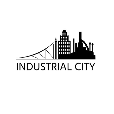 vector design template of city buildings and factory