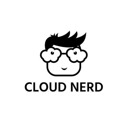 nerd with glasses cloud form vector design template Ilustração