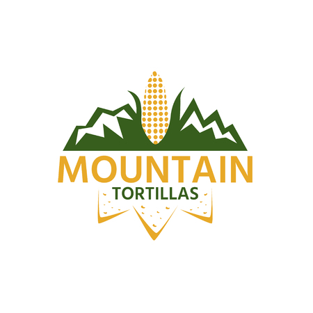 mountain with corn and chips vector design template