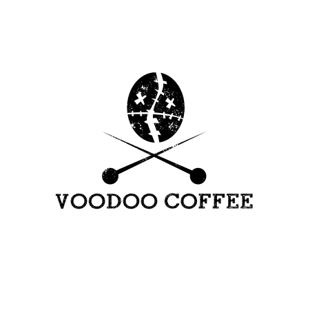 coffee bean in a form of voodoo head vector design template