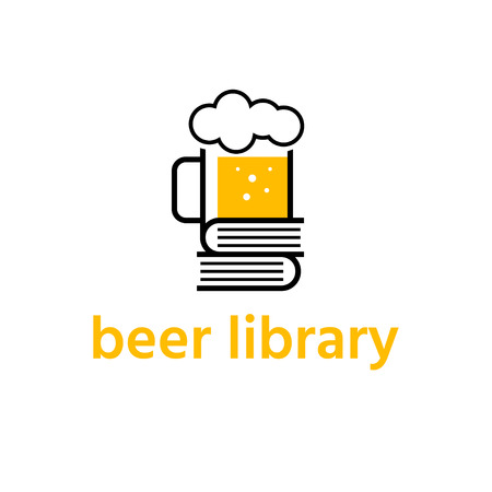 beer mug with books library vector design template