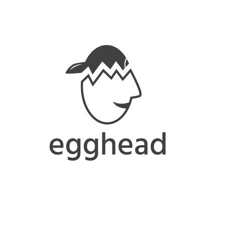 egghead boy in cap vector design template