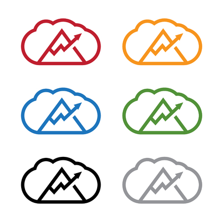 set of clouds with arrow and mountain vector design template