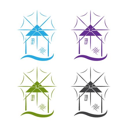 Satz Windmühle mit Wellenvektor-Designschablone