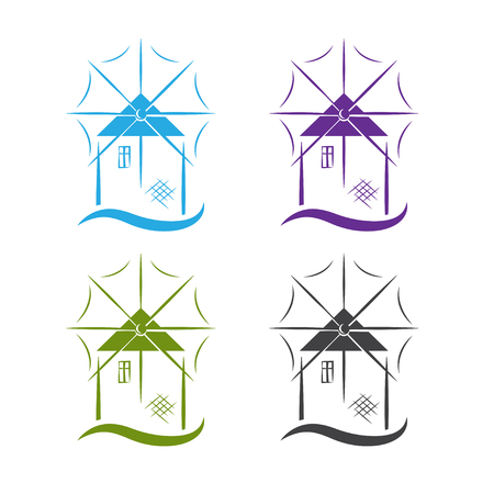 set of windmill with wave vector design template
