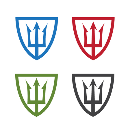 shields with neptune trident vector design template