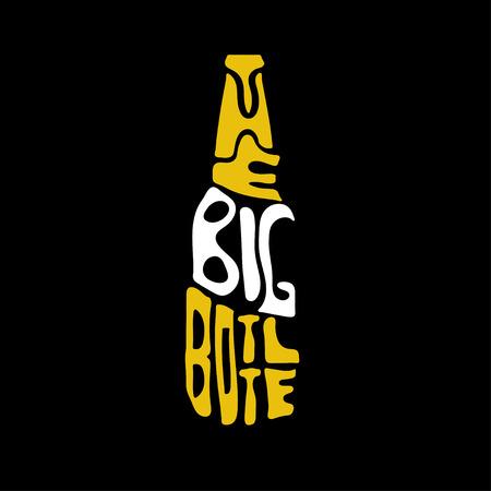 big bottle beer lettering vector design template