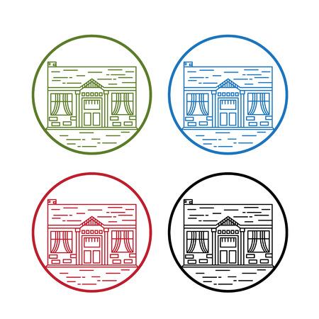 set of cute line art houses vector design template