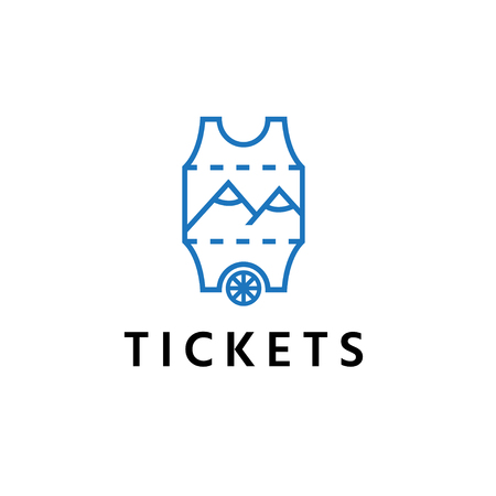 abstract ticket with wheel and mountains vector design template