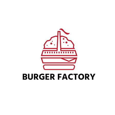 burger with factory restaurant vector design template