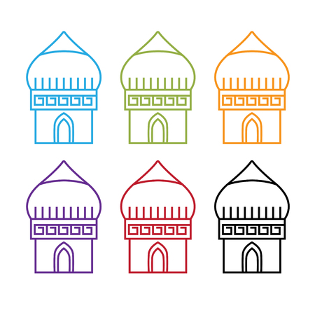 set of abstract middle east buildings vector design template