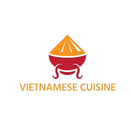 vietnamese cuisine with hat and bowl abstract vector design template
