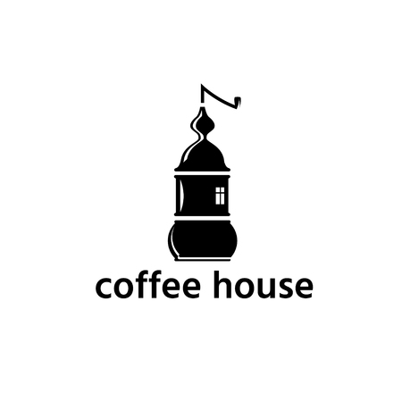 coffee grinder in a form of house vector design template