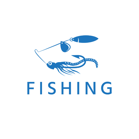 abstract fishing lure with worm vector design template