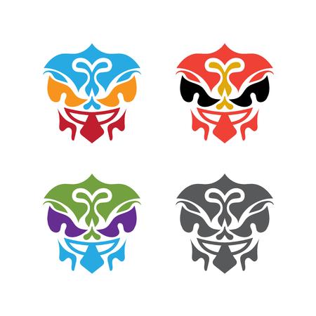 set of abstract polynesian masks vector design template Ilustração