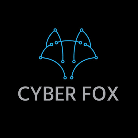 abstract line art cyber fox vector design template